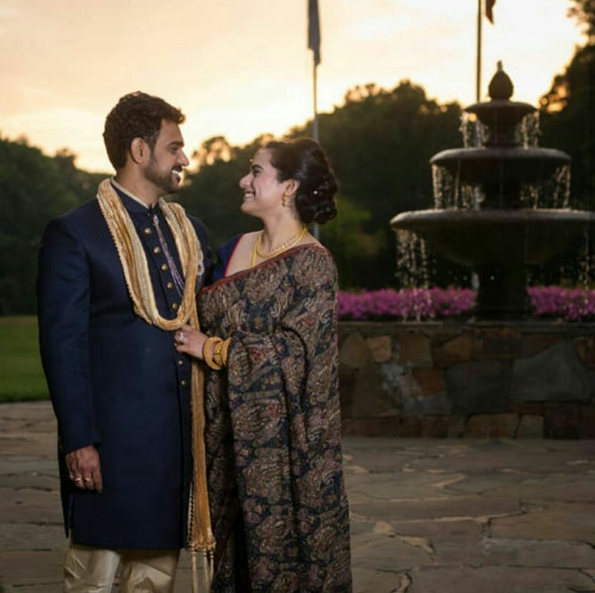 The Nivedita couple on their wedding day at Carolina Trace Country Club